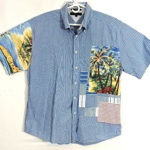 Tommy Hilfiger Shirts - Tommy Hilfiger Mens Hawaiian Shirt Short Sleeve XL